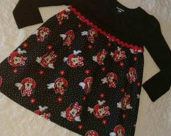 Handmade Girls MINNIE MOUSE licensed fabric Dress! Size 4T! Ready to Mail! Perfect for a Disney Vacation!!