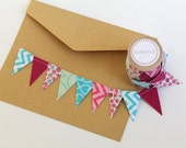 Pink, Aqua Cake Bunting. New: Double sided option. Fabric mini Ribbon. Cake topper. Wedding invite announcements, save the date. wood spool