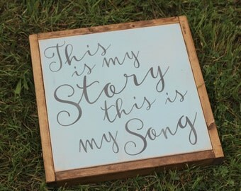 made to order This is My Story This is My Song | Church Hymn | Home Decor | 13x13 inch painted wood sign | Gallery Wall | Hymn Song lyrics