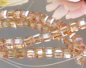 10 Champagne Luster Glass Cubes 6x6mm- Bastet's Beads-