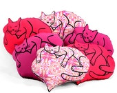 Valentines pillow, cat lover gift, Valentines cat, heart with cat shaped pillow, cat pillow, heart pillow, decorative pillow