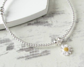 Sterling Silver Daisy Beaded Bracelet