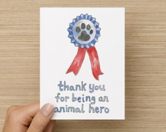 Thank You for Being an Animal Hero Recycled Paper Folded Greeting Card
