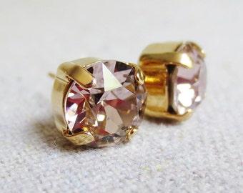 Swarovski Crystal Blush Pink Earrings, Pale Rose Rhinestone Earrings, Small Round Post Earrings, Rose Gold Earrings, Bridesmaids Gifts