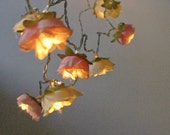 Rose Fairy Lights, Peach and Cream Shabby Rose Flower String Lights, Indoor String Lights, Battery Fairy Lights