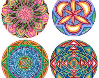 Choose any 4 (2 large + 2 small) Cosmic Circles, Ecofriendly, Window Clings, Sacred Geometry, Boho, Mandala, Rainbow, Sticker Art, Kara Rane