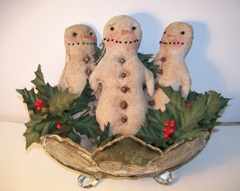Snowman, Ornament, Primitive, Homespun, Folk Art, Winter, Christmas Ornament, Bowl Fillers, Winter Decor