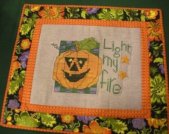 Light My Fire stitched and quilted wallhanging