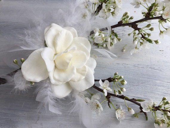 Afternoon Romance - Feather and Gardenia Bridal Headpiece / Hair Clip / Fascinator