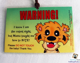 Keep Hands Away, New Baby Stroller and Car Carrier Sign - The Seacats Chizzel Tiger Infant Stroller Tag