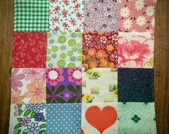 Little patchwork doll quilt / pot holder / placemat