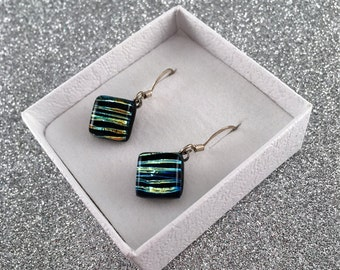 Mother's Day Gift Idea Dichroic Glass Drop Earrings Glass Earrings Diamond Earrings Fused Glass Earrings Gift for Her