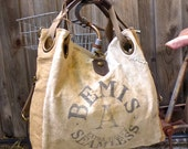 Bemis A Seamless - Illinois  - Open Tote - Americana OOAK Canvas & Leather Tote W- vtg fabric... Selina Vaughan Studios