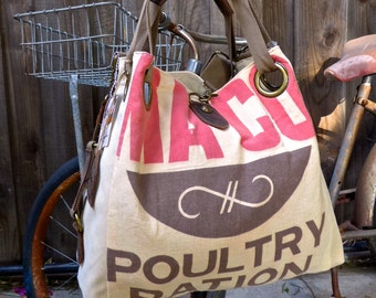 Maco Poultry Ration - Open Tote - Americana OOAK Canvas & Leather Tote W... Selina Vaughan Studios