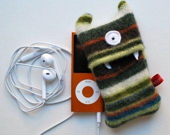 Green Stripey Monster iPod Nano or Shuffle Cozy