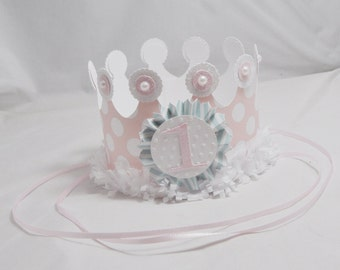 Girl Shabby Chic 1st Birthday Crown