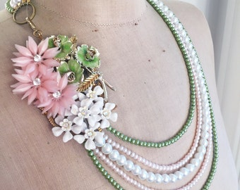 SALE Stunning Multi Strand Vintage Flower Asymmetrical Necklace