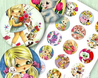 Vintage Bunny Rabbit Circle Image Sheet - 2 inch circles - Instant downloadable file - kitsch bunnies