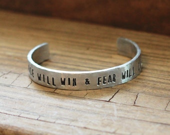 Peace Will Win Bracelet, Hand Stamped Cuff, Teen Gift Idea