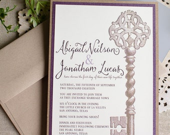 Vintage Key Wedding Invitation - watercolor wedding invite - skeleton key wedding - purple wedding invitation - vintage wedding - rustic