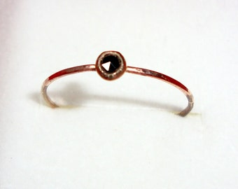 Black diamond ring  in 10k yellow or rose gold, Organic, ethical, eco friendly, custom made in your size - rose cut 3mm