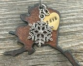 ALASKA | Rustic 2016 Christmas Ornament | Snowflake, Fish, Fishing Boat Charms, Handstamped Brass Tag