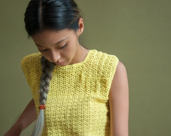 yellow crochet knit sleeveless sweater / handknit sweater / open weave top / s / 1756t / B18