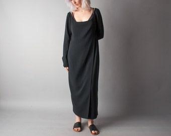 EMANUEL UNGARO minimalist black dress / wrap dress / maxi dress / m / 064d