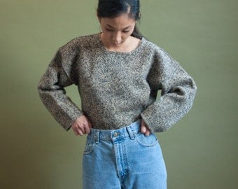 heather tan wool oversized sweater / s / 1500t