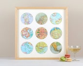 Nine personalised vintage map circle - map gift - anniversary gift - wedding gift - world map - gift for husband wife - travel gift