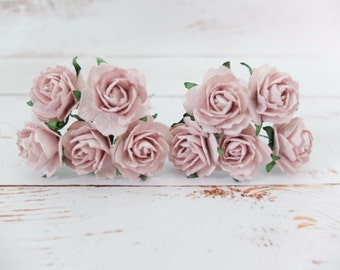 "1"" light purple mauve paper roses with wire stems - 2.5 cm mulberry paper flowers"