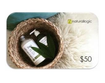 50 Dollar Gift Card. Electronic Gift Certificate. Natural Organic Skin Care.