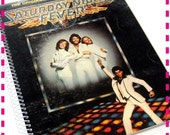 SALE 40% OFF--- SATURDAY Night Fever Movie Soundtrack Original Recycled / Upcycled Retro Record Album Cover Journal Notebook - Vintage Circa