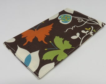 SAMPLE SALE - Ready to Ship - Checkbook Cheque Cover Case Money Coupon Holder - Moda Chrysalis by Sanae Brown Butterfly Flowers Leaves
