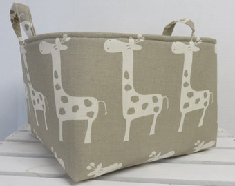 READY TO SHIP Cream Giraffe on Taupe Fabric - Large Diaper Caddy Storage Container Basket Organizer Bin - Nursery Decor - 1 Divider