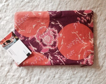 Coral and magenta zippered pouch