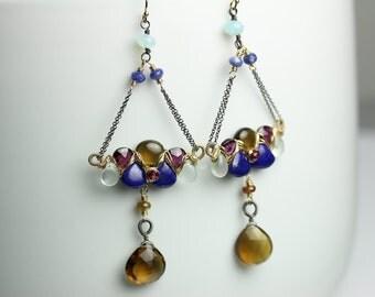 Whiskey Quartz and Lapis Chandelier Earrings . Chain Earrings. Mixed Metal Earrings. Long Dangle Earrings.