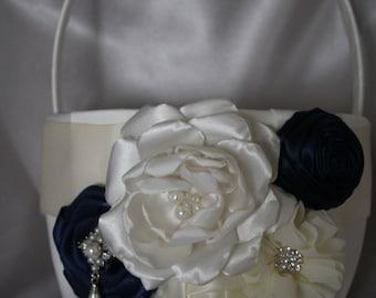 Large-White or Ivory Flower Girl Basket-NAVY-Custom Colors-Flower Girls Age 8+