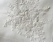 Antique Embroided LInen Handkerchief