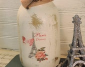 French Country Paris Dreams Eiffel Tower Glittered Jar Candle Holder, Painted Jar Candle,Distressed,Shabby Chic