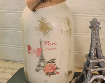 French Country Paris Painted Mason Jar Candle Holder, Eiffel Tower, Glittered Jar Candle,Distressed,Shabby Chic