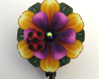 Ladybug on a Yellow and Purple Flower ID Badge Reel, Scissor Keeper, ID Lanyard, Scissor Fob