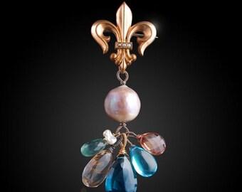 ON SALE  25% OFF Vintage Fleur De Lis Seed Pearl Pendant with Kasumi-like Pearl, Topaz, Sunstone, Moss Aquamarine, Quartz, and Saltwater Kei