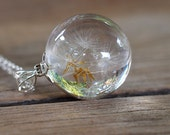 Bridal Dandelion Seeds Resin and Silver Necklace, Small Dandelion Seeds Pendant with a Long Chain