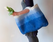 Sturdy Heavy Duty Cobalt Extra Large Art Bag / Cottage/ Tote / Shopping / Market / Picnic / Hand felted wool / Wearable Art