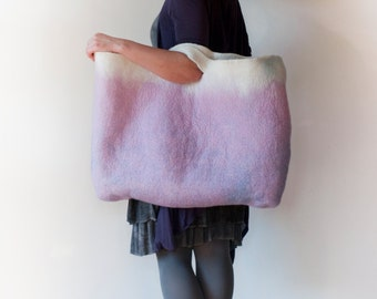 EXTRA LARGE Pale Pink Sturdy Everyday Art Bag / Carryall / Tote / Basket / Shopping / Market / Picnic / Hand felted wool / Wearable Art