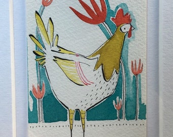 ORIGINAL ACEO, rooster, teal and green, Artist trading cards, ATC whimsical watercolor by cori dantini