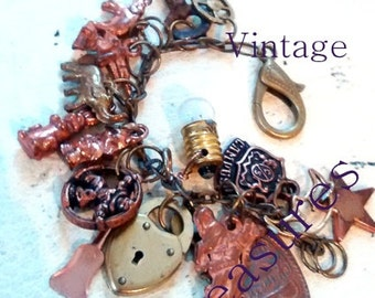 Vintage Treasures  Charm Bracelet  art jewelry recycle upcycle cracker jack charms