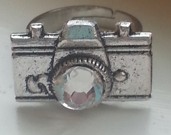 Antique Silver Camera Ring Photographer gift