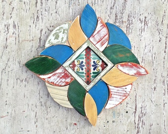 Reclaimed Wood Mosaic, Framed Mexican Tile, Southwest Decor, Rustic Wall Decor, Salvaged Wood Art, Reclaimed Wood Art, Distressed Wood Art